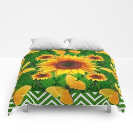 Green Yellow Butterflies Sunflowers Flowers  Art Comforters