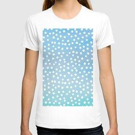 White Dots Polka dots on Aqua Teal Background - Mix & Match T-shirt