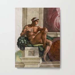 "Michelangelo Buonarroti ""Ignudo"" (1) Metal Print"