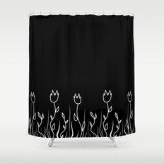Simple flower black Shower Curtain