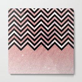 Modern black rose pink glitter lavender marble chevron Metal Print