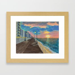 Brighton beach boardwalk, sunset Framed Art Print