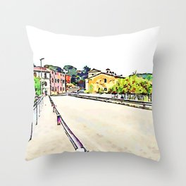 Fognano: view road with buildings Throw Pillow