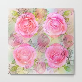 Pink roses on a painterly background Metal Print
