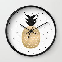 pineapple Wall Clocks featuring Pineapple by Elisabeth Fredriksson