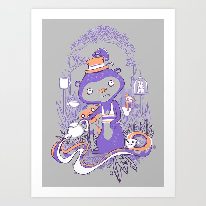 Tea Monkey Tea Party Art Print