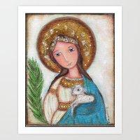 agnes cecile Art Prints featuring Saint Agnes by Flor Larios Art