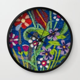 Cozy Felted Wool Flower Garden Wall Clock