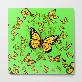 YELLOW BUTTERFLIES GREEN SUMMER ART Metal Print