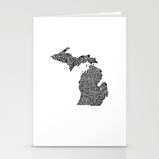 Typographic Michigan Stationery Cards