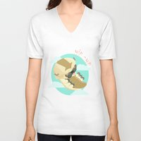 aang V-neck T-shirts featuring Appa - Avatar the legendo of Aang by Manfred Maroto