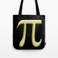 pi Tote Bags featuring pi by Precious Art Print