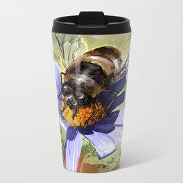 Bee on flower 18 Metal Travel Mug