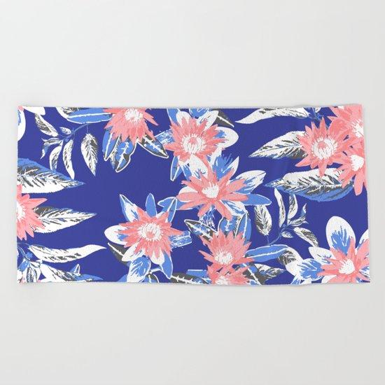Vintage Flower Pattern Beach Towel