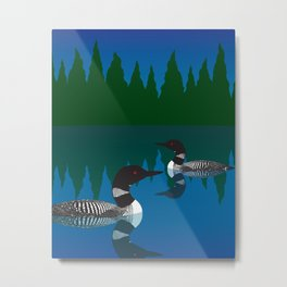 Loons in a Woodland Lake Metal Print