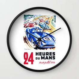 1956 24 Hours of Le Mans Race Poster Wall Clock