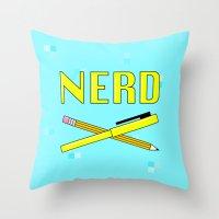nerd Throw Pillows featuring Nerd by HELLA NINA
