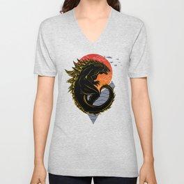 Godzilla & red moon Unisex V-Neck