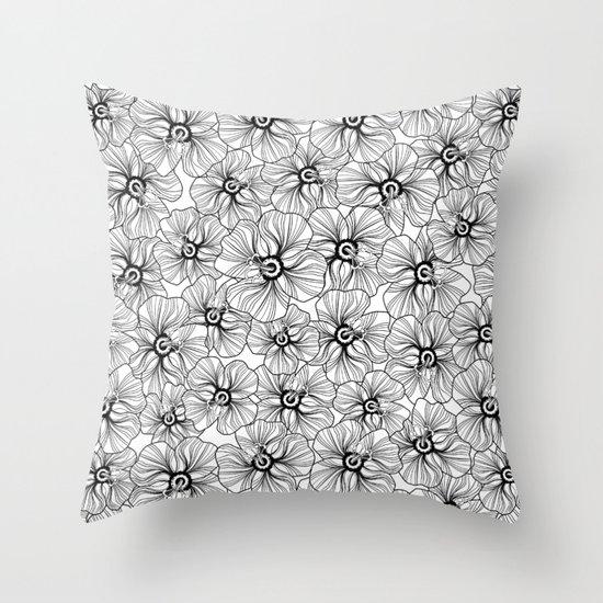 My garden. black and white.  Throw Pillow