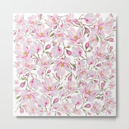 Magnolia Pattern Metal Print