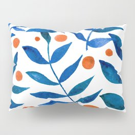 Watercolor berries and branches - blue and orange Pillow Sham