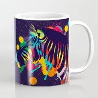 zebra Mugs featuring ZEBRA by mark ashkenazi