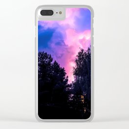 Magnificent Thunderbolt Above Trees Violet Hue High Resolution Clear iPhone Case