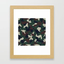 Green Brown woodland camo camouflage pattern Framed Art Print