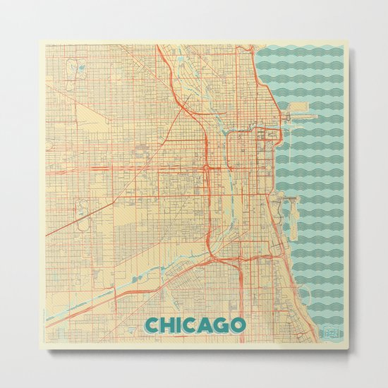 Chicago Map Retro Metal Print
