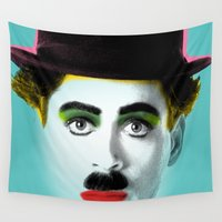 charlie Wall Tapestries featuring charlie chaplin by mark ashkenazi