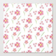 Watercolor floral pattern -small pink flowers Canvas Print