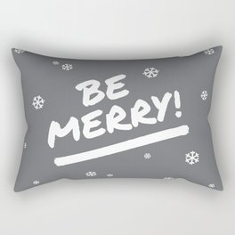 Charcoal Gray Be Merry Christmas Snowflakes Rectangular Pillow