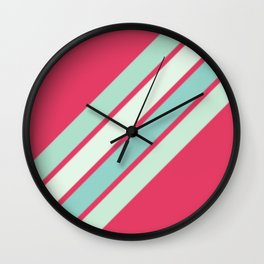 Pink and Blues Stripes Wall Clock