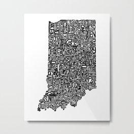 Typographic Indiana Metal Print