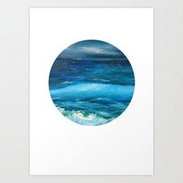 Blue seascape breeze with storm clouds. Oil painting seascape circle wall art decor. Art Print