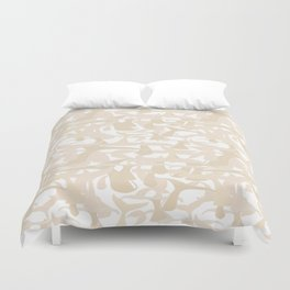 Whale Tail Beige White Abstract Art Duvet Cover