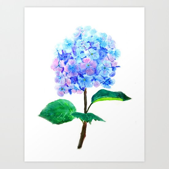 blue purple hydrangea Art Print
