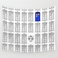 tardis Wall Tapestries featuring Tardis by Megan Twisted