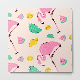 Flamingo Pattern Pink Flamingoes Metal Print
