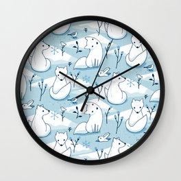 Arctic Fox - Blue Wall Clock
