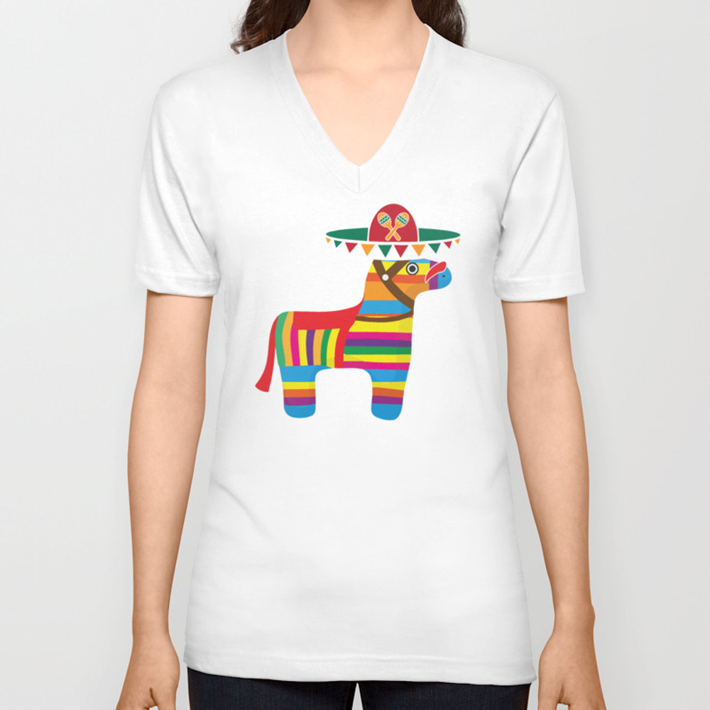 Pinata With Sombrero Mustache Cinco De Mayo Unisex V-neck by Teepsy VNT8927497
