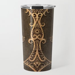 Vintage Rustic Libra Zodiac Sign Travel Mug