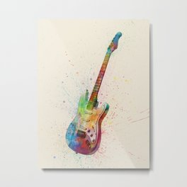 Electric Guitar Abstract Watercolor Metal Print