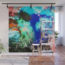 Marbled Sea - Abstract, fluid, watercolor art Wall Mural