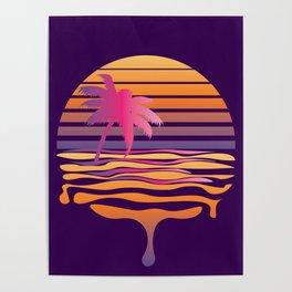 Retro striped sun and palm Poster
