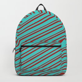 Turquoise and Red Colored Pattern of Stripes Backpack