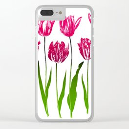 Tulip Garden Print in Shades of Fuchsia Pink and Green Clear iPhone Case