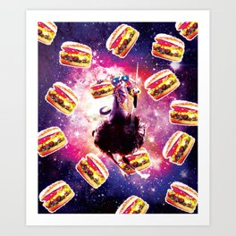 Thug Space Cat On Ostrich Unicorn - Burger Art Print
