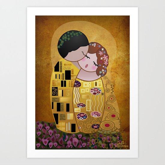 Kokeshi The Kiss Art Print