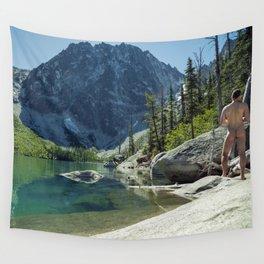 Emerald Green Alpine Lake Wall Tapestry